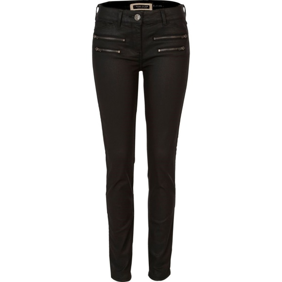 value for money new style of 2019 temperament shoes River Island Black Coated Zip Super Skinny Jeans